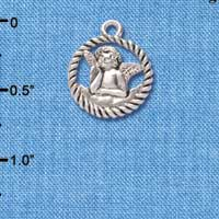 C4461+ tlf - Raphael Angel in Rope Wreath - Silver Plated Charm