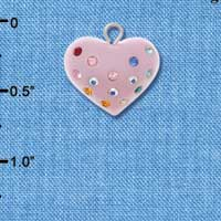 C4514 tlf - Pink Resin Heart with Multicolored Swarovski Crystals - Resin Charm
