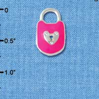 C4582+ tlf - Hot Pink Enamel Lock with Clear Swarovski Crystals - Silver Plated Charm