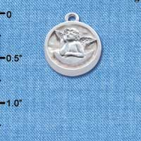 C4629+ tlf - Raphael Angel - Round Seal - Silver Plated Charm