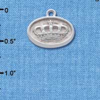 C4641+ tlf - Crown - Oval Seal - Silver Plated Charm