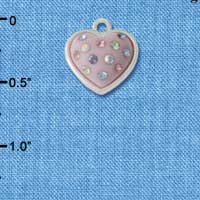 C4669 tlf - Pink Resin Heart in Frame with Spring Swarovski Crystals - Silver Plated Charm