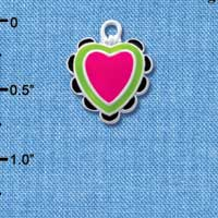 C4735+ tlf - Hot Pink & Lime Green Heart with Black Ruffles - 2 Sided - Silver Plated Charm