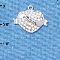 C4994 tlf - 'Mom' Banner on Clear Crystal Heart - Silver Plated Charm