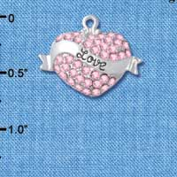 C4995 tlf - 'Love' Banner on Pink Crystal Heart - Silver Plated Charm