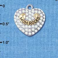 C5207 tlf - Gold 'Mom Rock' on Clear Crystal Heart - Im. Rhodium & Gold Plated Charm