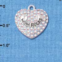 C5208 tlf - Mom Rock' on AB Crystal Heart - Silver Plated Charm