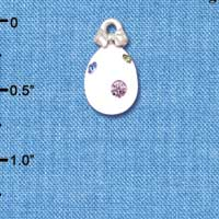C5520+ tlf - White Easter Egg with Multicolored Crystal Dots - Silver Plated Charm