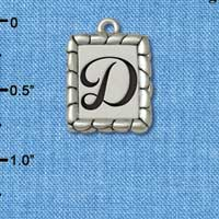 C5542+ tlf - Pebble Border Initial - D - Silver Plated Charm Jewelry Findings