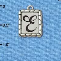 C5543+ tlf - Pebble Border Initial - E - Silver Plated Charm Jewelry Findings