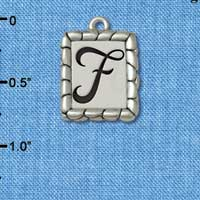 C5544+ tlf - Pebble Border Initial - F - Silver Plated Charm Jewelry Findings