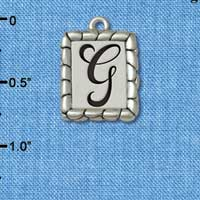C5545+ tlf - Pebble Border Initial - G - Silver Plated Charm Jewelry Findings