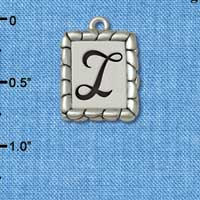 C5547+ tlf - Pebble Border Initial - I - Silver Plated Charm Jewelry Findings