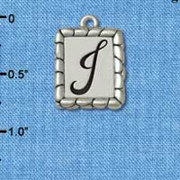 C5548+ tlf - Pebble Border Initial - J - Silver Plated Charm Jewelry Findings