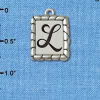 C5550+ tlf - Pebble Border Initial - L - Silver Plated Charm Jewelry Findings