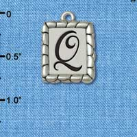 C5555+ tlf - Pebble Border Initial - Q - Silver Plated Charm Jewelry Findings