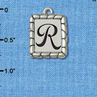 C5556+ tlf - Pebble Border Initial - R - Silver Plated Charm Jewelry Findings