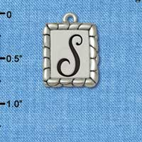 C5557+ tlf - Pebble Border Initial - S - Silver Plated Charm Jewelry Findings
