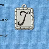 C5558+ tlf - Pebble Border Initial - T - Silver Plated Charm Jewelry Findings