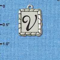 C5560+ tlf - Pebble Border Initial - V - Silver Plated Charm Jewelry Findings
