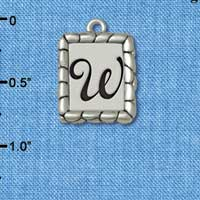 C5561+ tlf - Pebble Border Initial - W - Silver Plated Charm Jewelry Findings