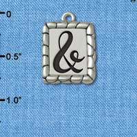 C5565+ tlf - Pebble Border Initial - & - Silver Plated Charm Jewelry Findings