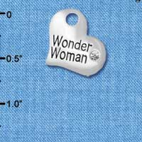 C5717 tlf - Large Wonder Woman Heart - Silver Plated Charm