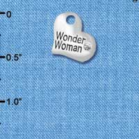 C5722 tlf - Small Wonder Woman Heart - Silver Plated Charm