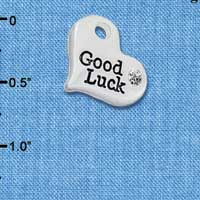 C5977 tlf - Large Good Luck Heart - Silver Plated Charm