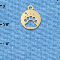 C6090+ tlf - Bear Paw Cutout Disc - Gold Plated Charm