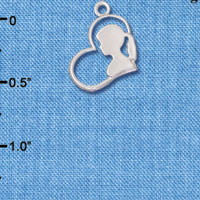 C6557 tlf - Girl Silhouette in Heart - Silver Plated Charm