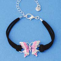 BR-F1507-F1525 tlf - Large Enamel Hot Pink and Purple Butterfly with Swarovski Crystals - Silver Plated Black Suede Bracelet