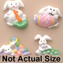 0638 tlf - Mini 4 Assorted Pastel Easter Bunny Set - Resin Decoration