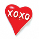 5620 tlf - Red Heart with XOXO - Flat Backed Resin Decoration