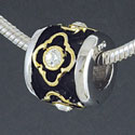 SS1034 tlf - Gold Alhambra Diamond with Clear Swarovski Crystals - Sterling Silver Large Hole Bead